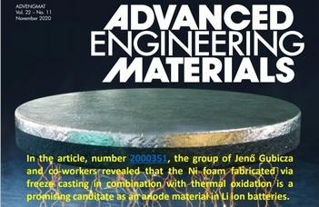 Fizikusaink eredményei az Advanced Engineering Materials címlapján